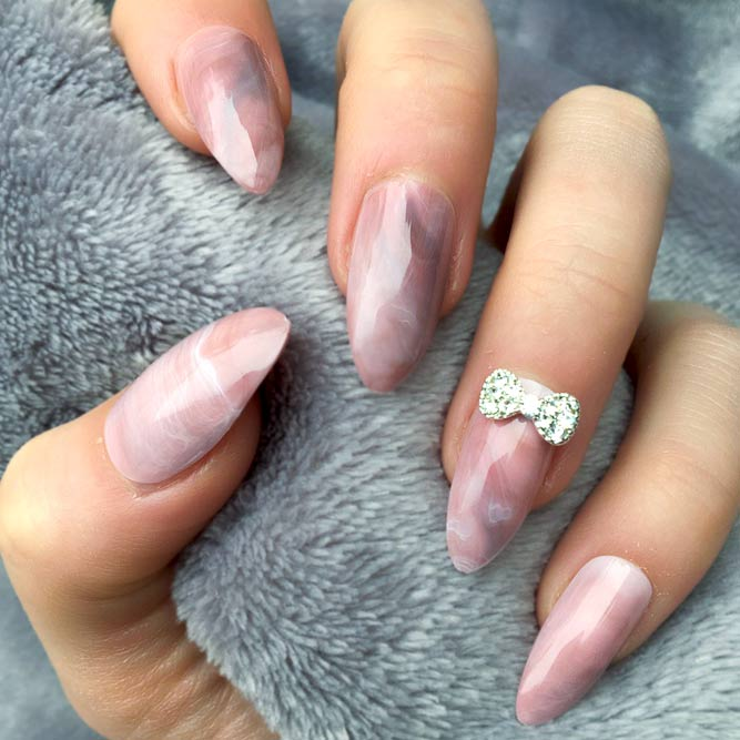 Rose Quartz Design For Restrained Manicure #rosequartz #rosequartznails