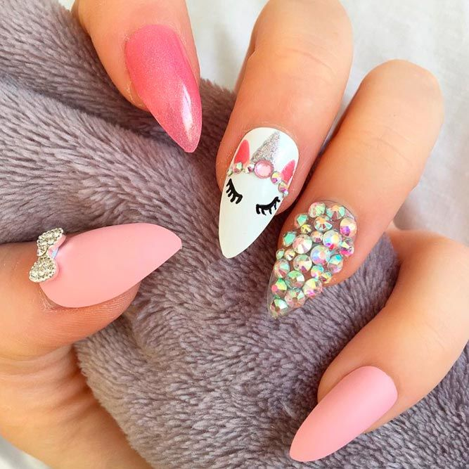 Girly Pink Nail Art With Unicorn