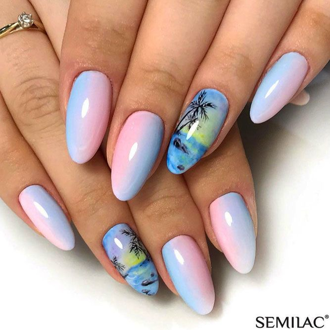 Sunset Tropical Nails Art With Ombre