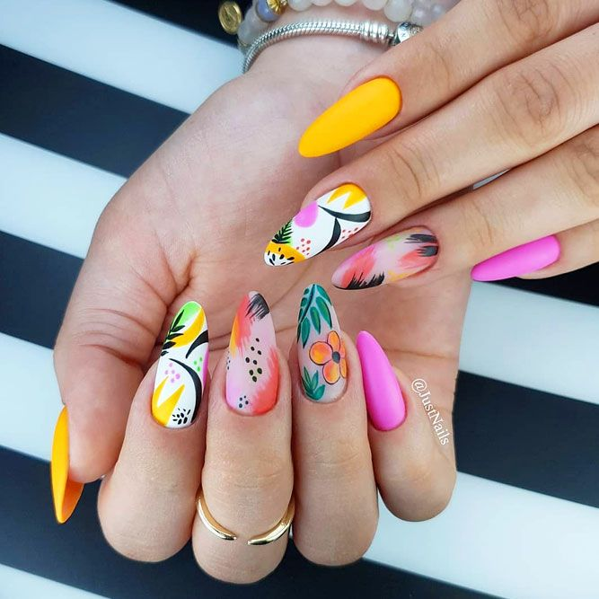 Bright Tropical Leaves Nails