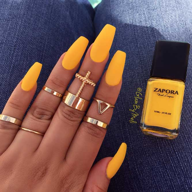 Yellow Nail Designs for Long Coffin Nails