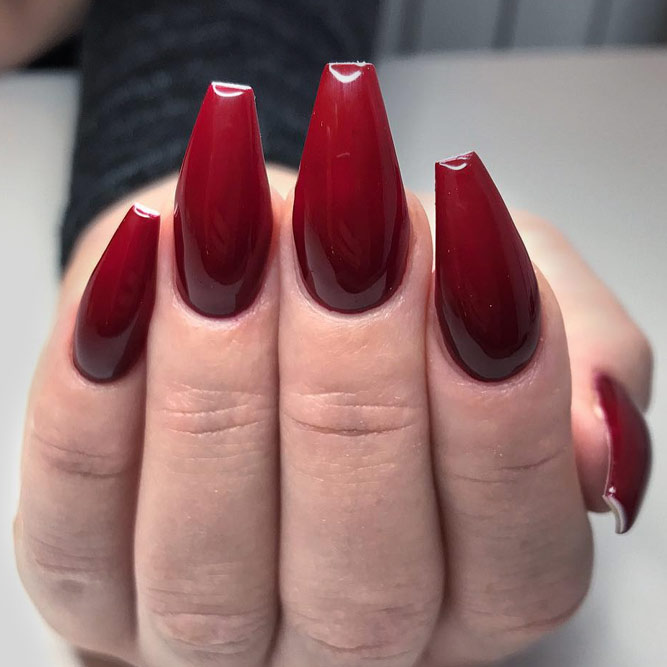 Ruby Red Coffin Shaped Nails