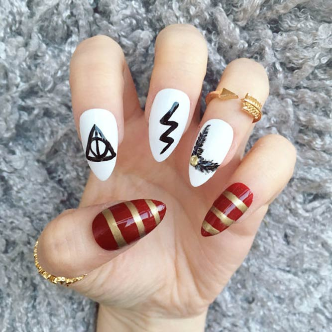 Deathly Hallows Nails   Perfect Cool Nail Designs Ideas  NailDesignsJournal.com