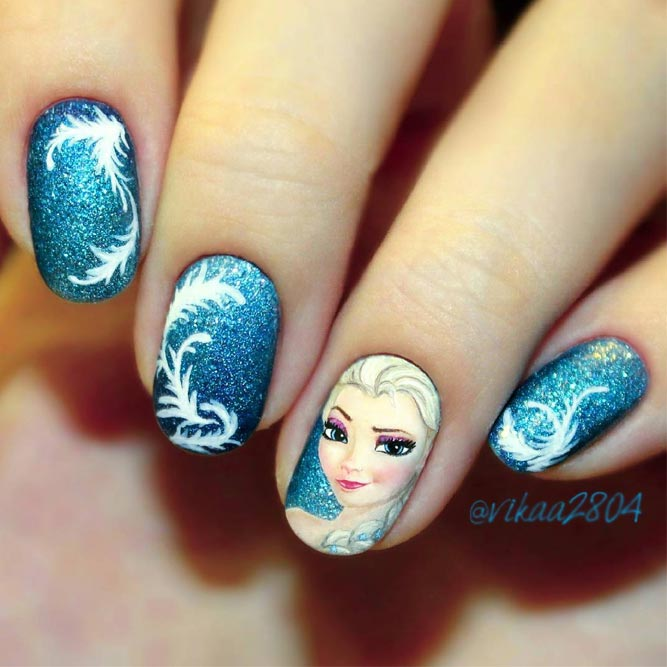 Frozen Nail Art - Perfect Cool Nail Designs Ideas NailDesignsJournal.com