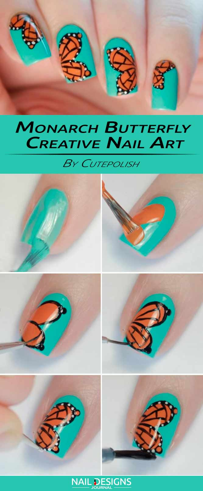 Monarch Butterfly Creative Nails Art