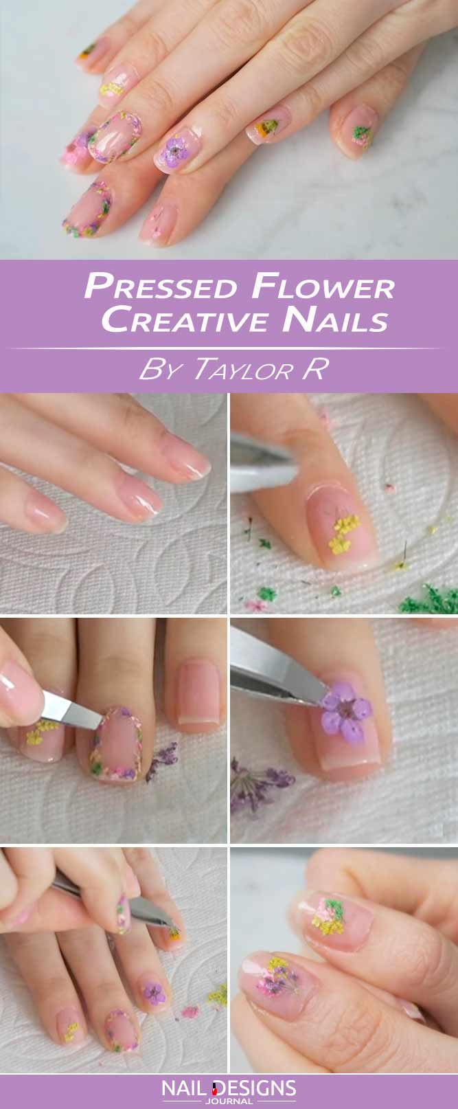 Pressed Flower Creative Nail Design