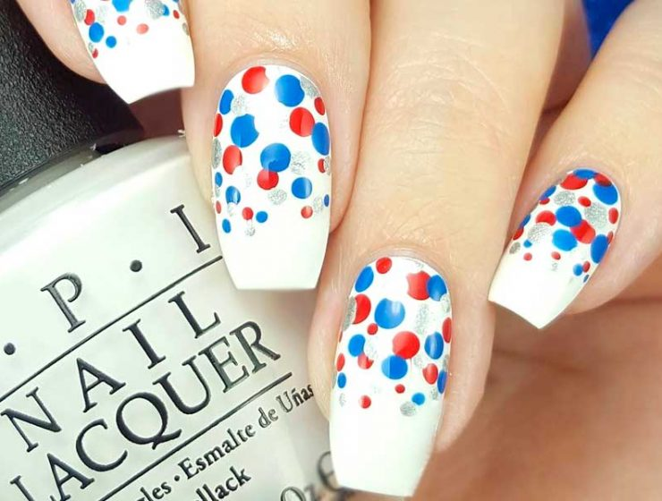 Fourth of July Nails Designs in Red White and Blue