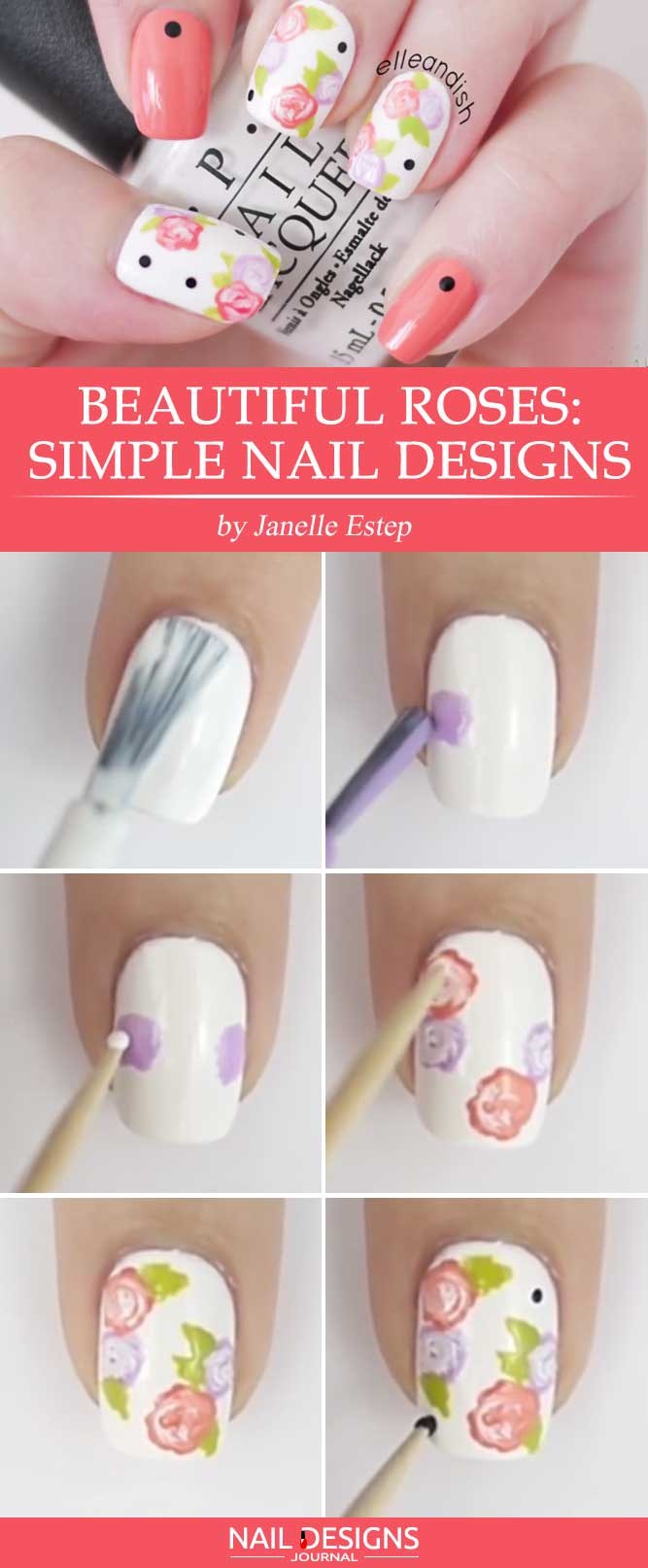 Beautiful Roses Simple Nail Designs with a Toothpick