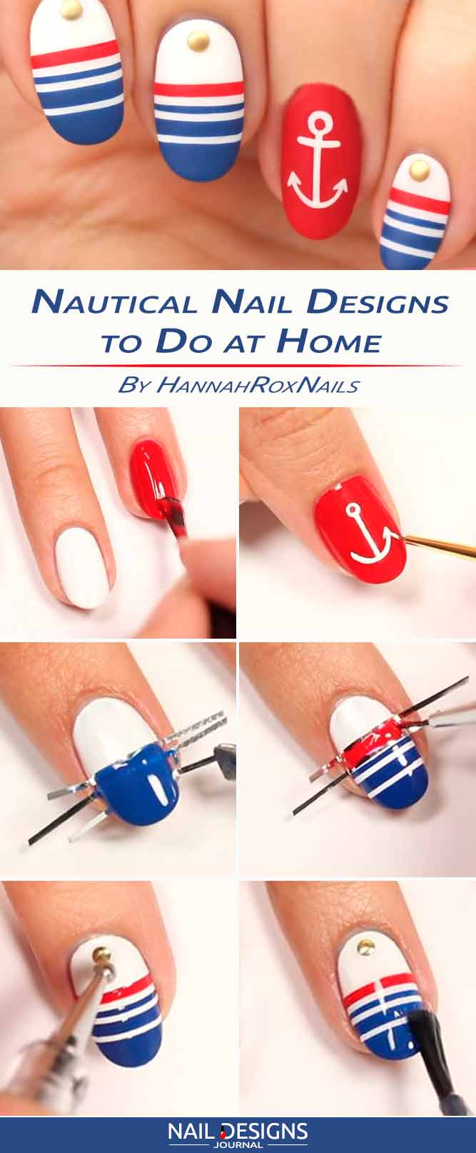nautical nail designs to do at home - Nail Designs Home