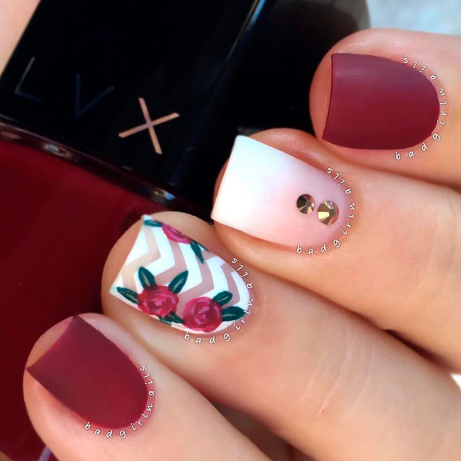 Burgundy and White Chevron Nails