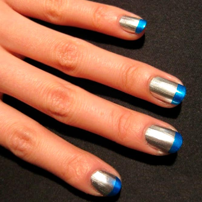 Blue and Silver French Mani