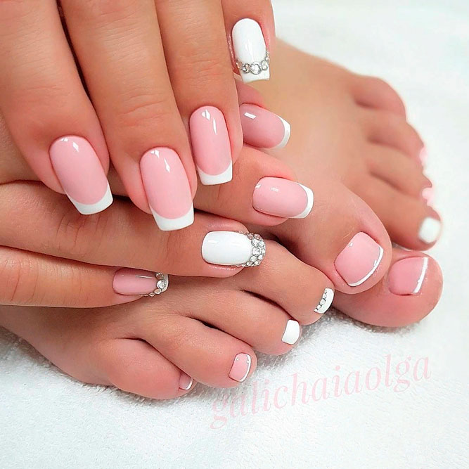 Perfect Combo Of French Mani And Toe Nail Designs #frenchnails #toenailart