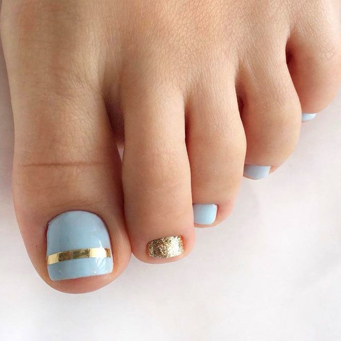 Blue Geometric Nail Art For Your Perfect Pedi