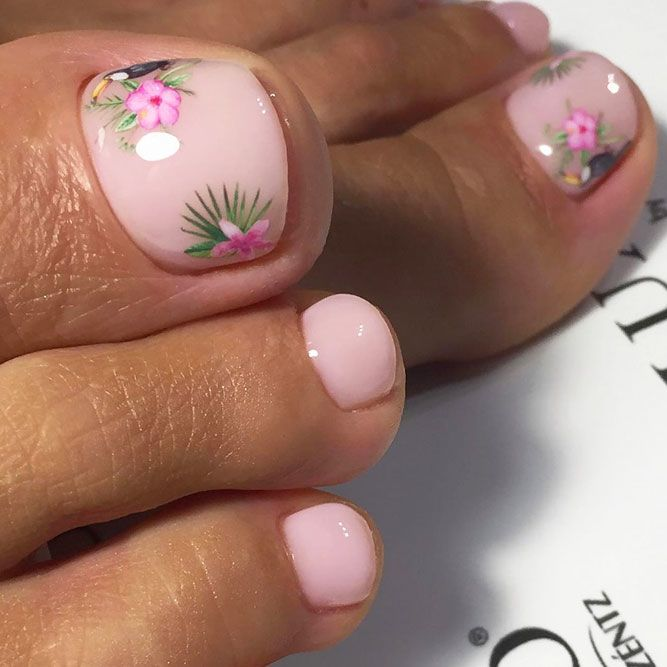 Adorable Nude Toe Nails Art