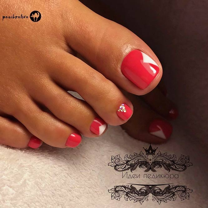 Easy Nail Designs For Toes #rednails #nailsdesign #toedesign