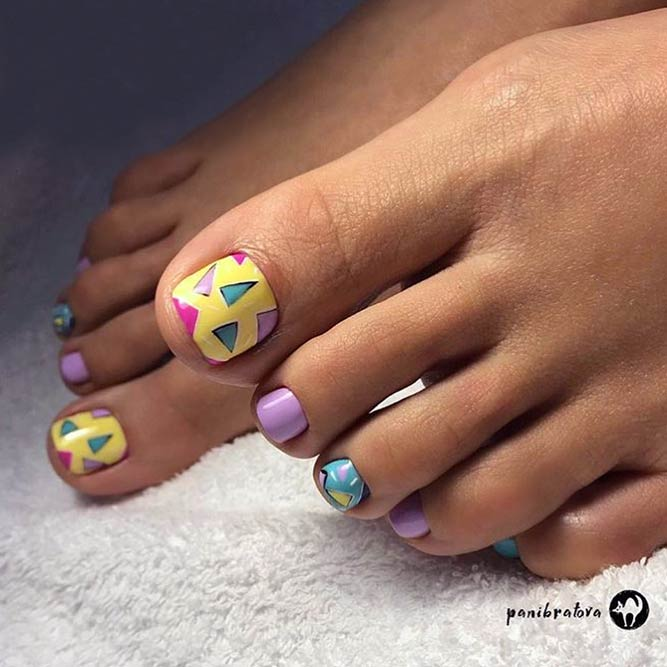 Colorful Nail Art Designs for Toes #toenails #nailsart #nailsdesign