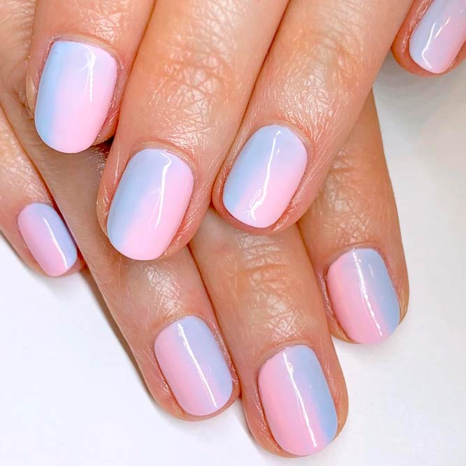Vertical Ombre Nails With Pink-Blue Polish