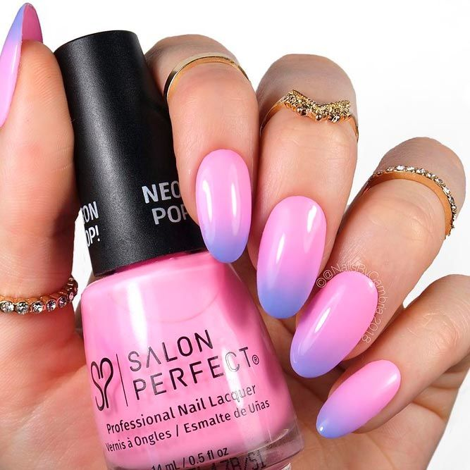 Blue-Pink Ombre Nails