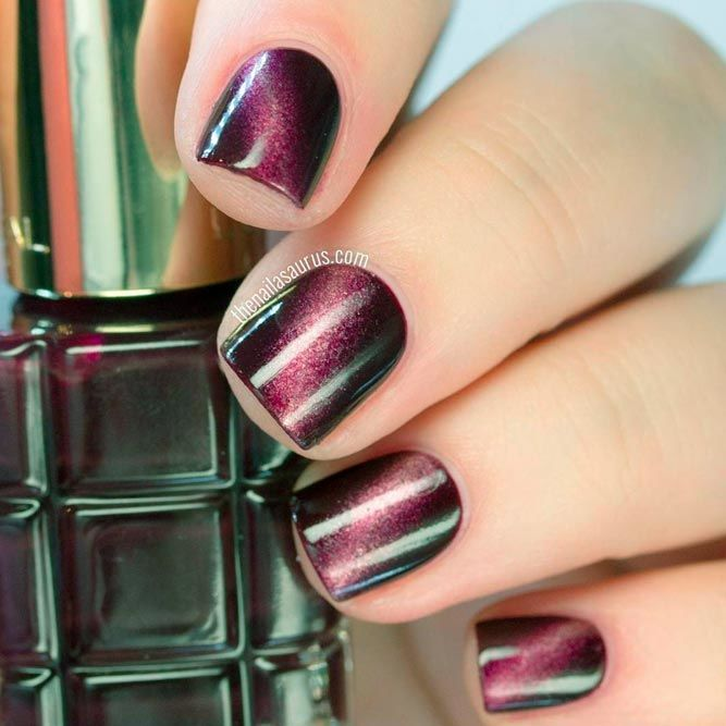 Burgundy Diagonal Gradient Nails