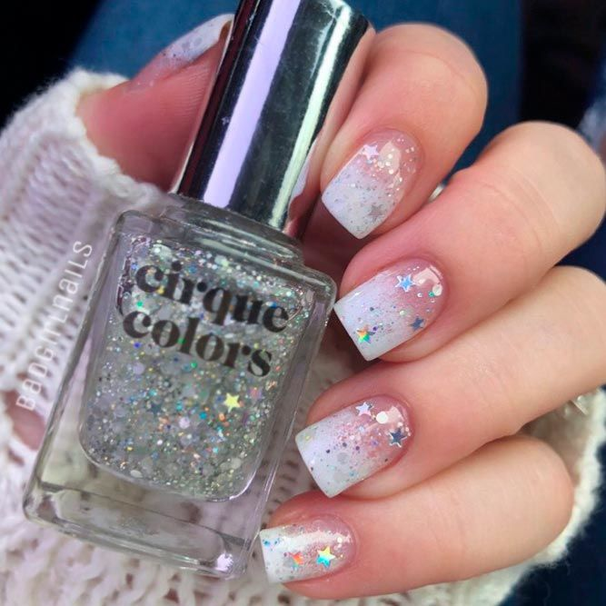 French Fade With Glitter Stars