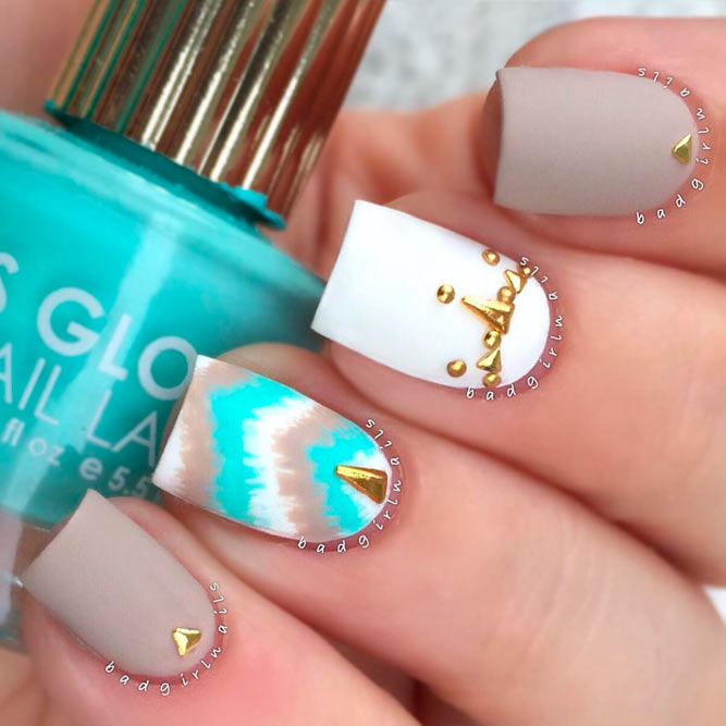 Perfect Nails To Brighten Your Day Naildesignsjournal - Aqua And Gold Nails Best Nail Designs 2018