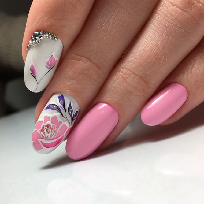 Elegant Nails Designs with Flowers