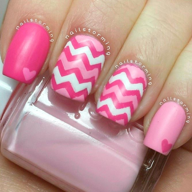 White and Pink Matte Nails