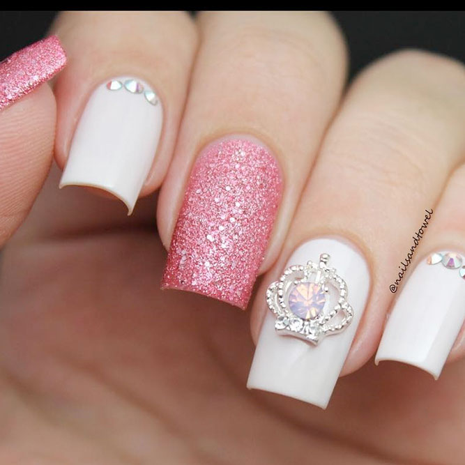 Princess Pink and White Nails