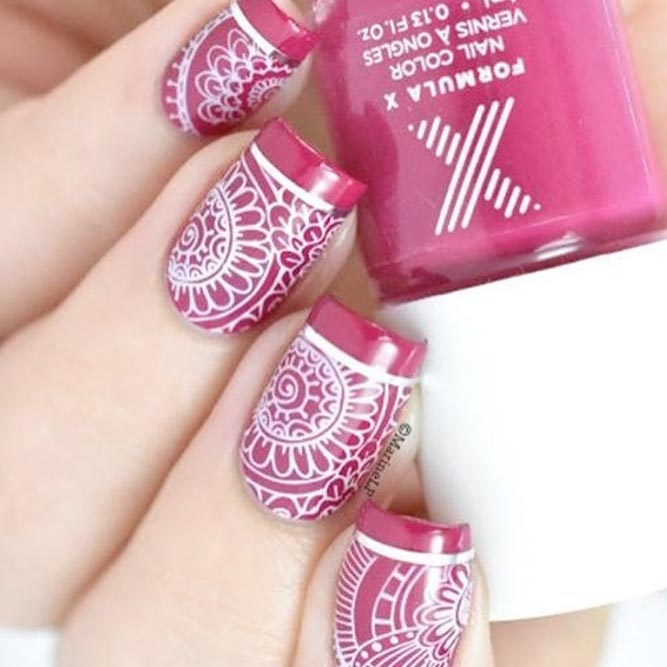 Pink and White Nails Lace
