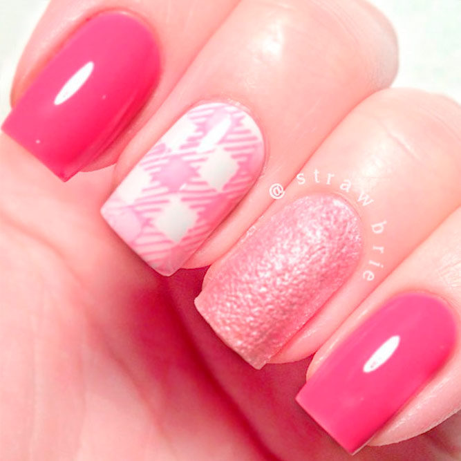 Pink And White Gingham Nails