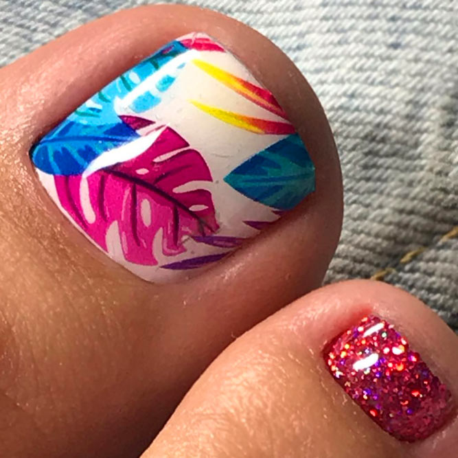 Tropical Colorful Nail Designs For Toes