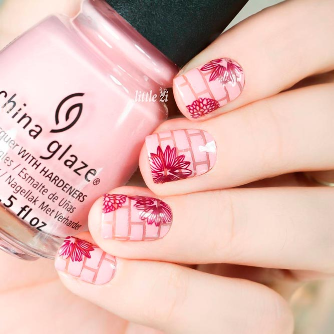 Blush Nails with Flowers Designs picture 3