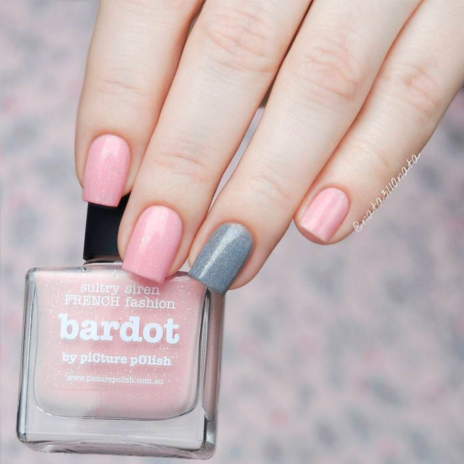 Blush Nails with Glitter Accent picture 2