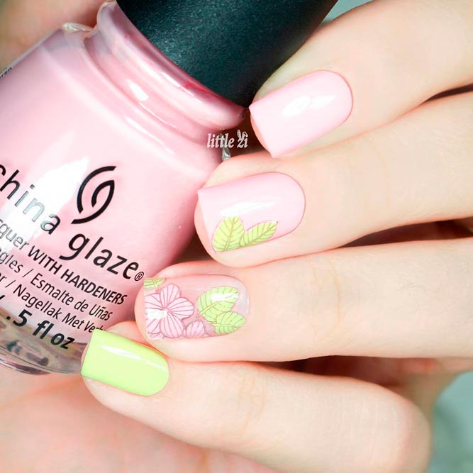 Blush Nails with Flowers Designs picture 1