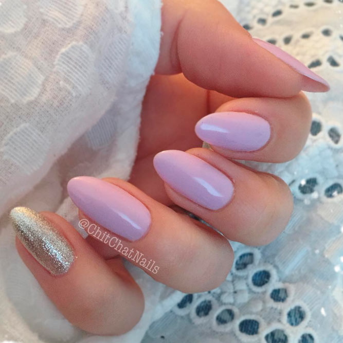 Blush Nails with Glitter Accent picture 1
