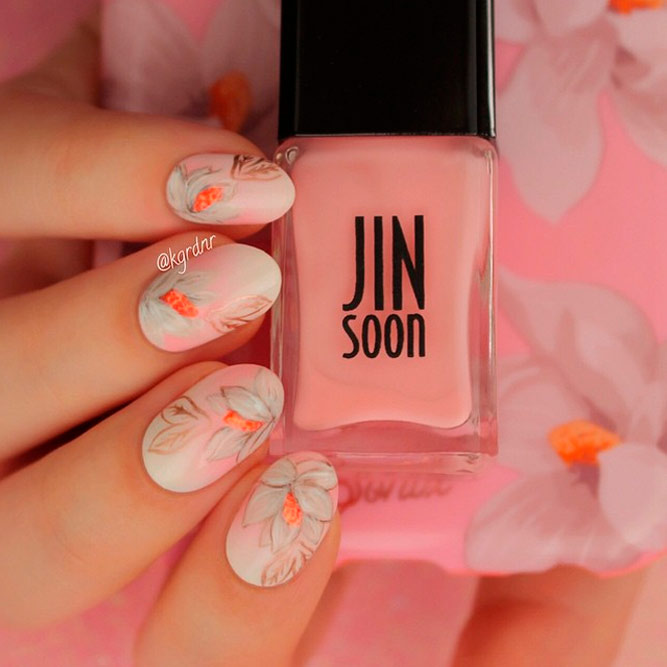 Blush Nails with Flowers Designs picture 2