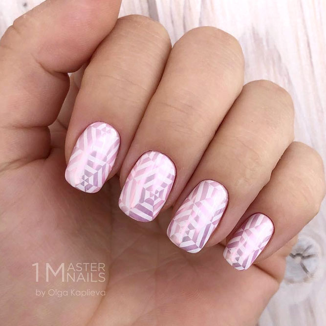 Pretty Girly Nail Designs Using Stamping Palette #squoval #chromenails #stampingnails