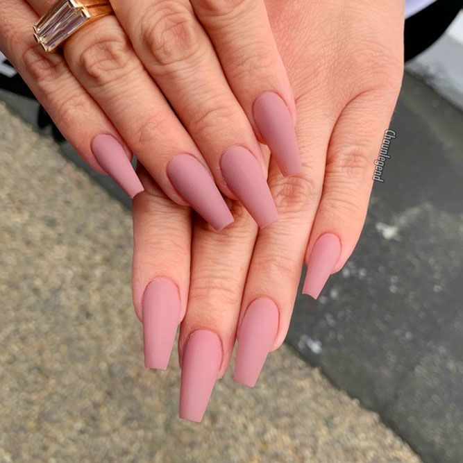 Matte Mauve For Elegant Coffin Nails