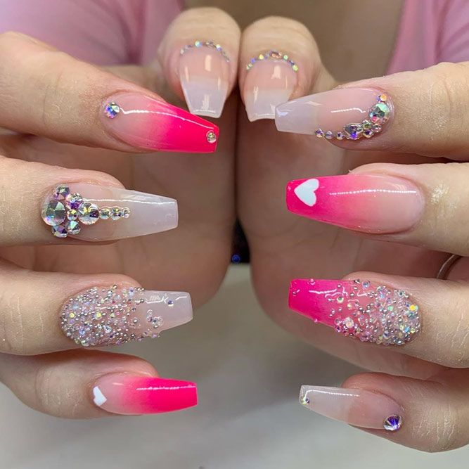 Glitter Gradient Nail Design With Rhinestones