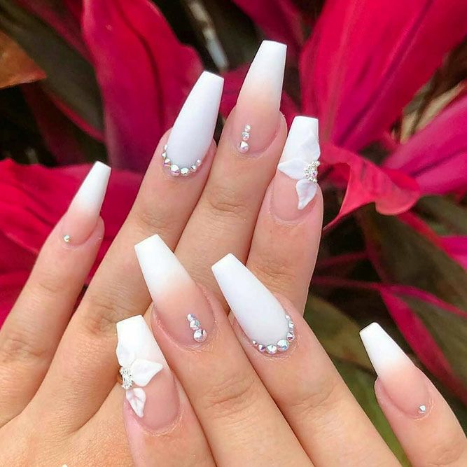 Elegant White Nails With Rhinestones