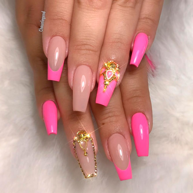 Colored Coffin Tip Nails Designs picture 1