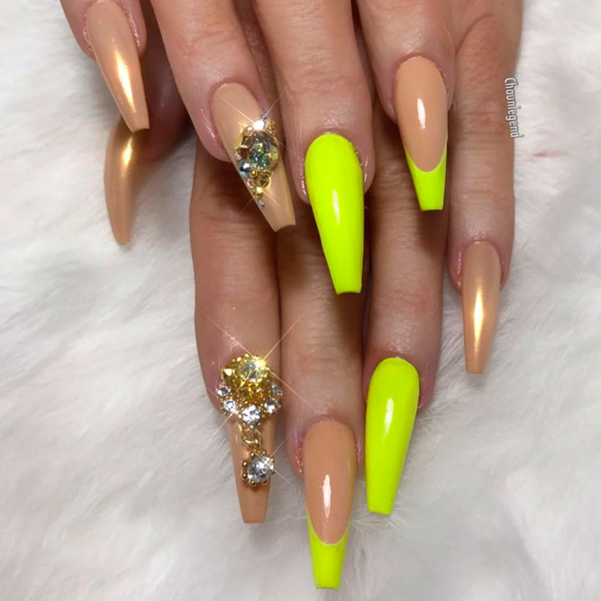 Colored Coffin Tip Nails Designs picture 3