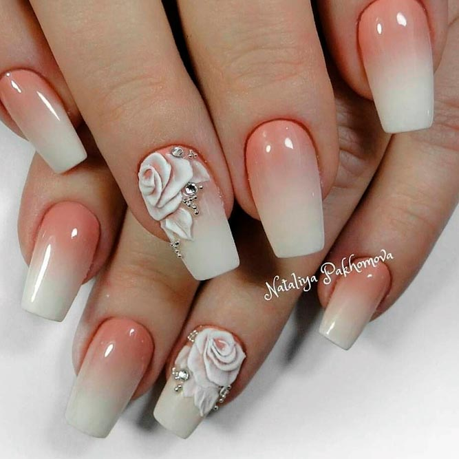 French Fade With 3-D Roses Nail Art #frenchnails #ombrenails