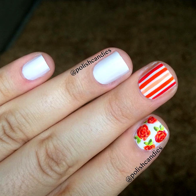 Roses And Geometric Design #whitenails #geometricnails #flowernails