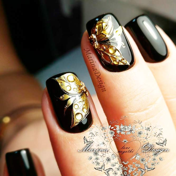 Luxury Black and Gold Floral Art