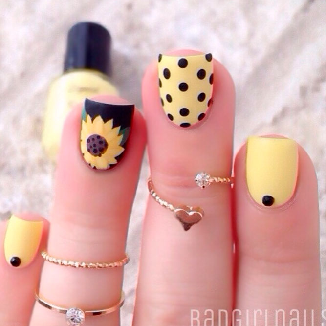 Black Nails with Sunflowers