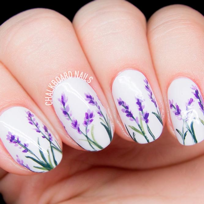 White Cute Nails With Purple Flowers