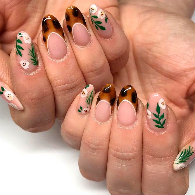 Floral And Animal Combo Nail Art #frenchnails #roundednails