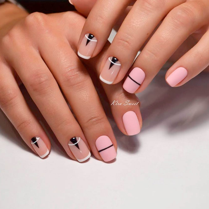 French Tip Nails With Matte Polish picture 2