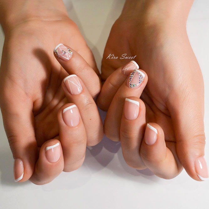 Classic French Manicure with Rhinestones picture 3